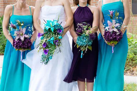 Teal And Purple Wedding Flower Arrangements