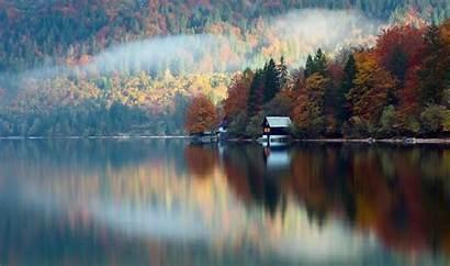 Lake Autumn Forest Wallpapers Cabin Desktop Lodge