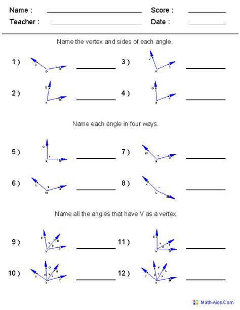 naming angles worksheets 6th grade math