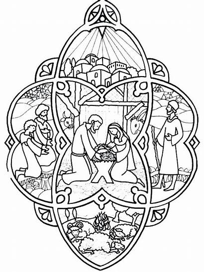 Nativity Stained Glass Scene Coloring Pages Printables