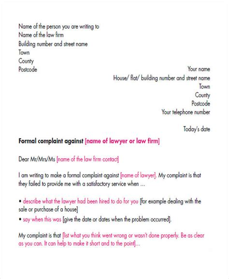 complaint letters    premium templates