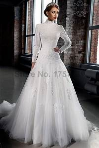 aliexpresscom buy vestido de casamento 2015 high neck With long sleeve a line wedding dress