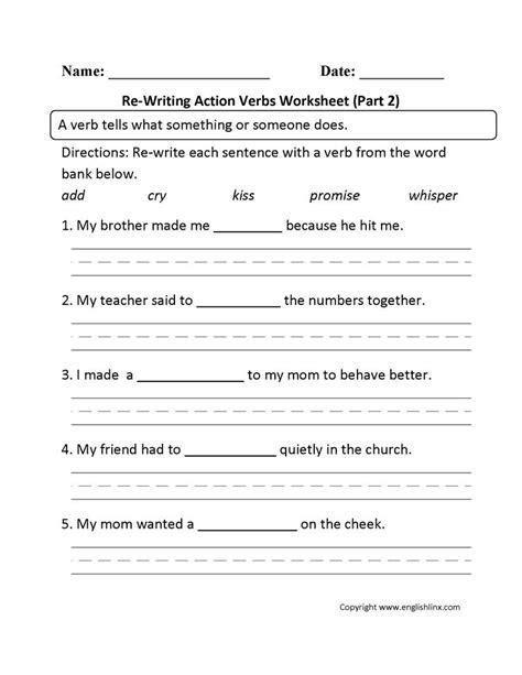 writing action verbs worksheet part  verb worksheets