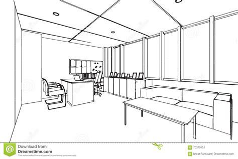 bureau line office décrivez la perspective de dessin de croquis d 39 un bureau