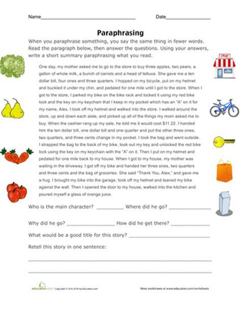 paraphrasing practice worksheets school and language arts