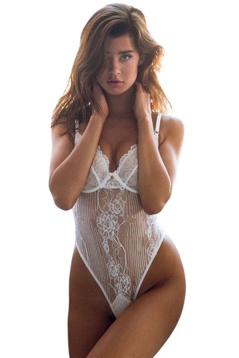 US$3.9 White Yummy Scalloped Lace Teddy Lingerie