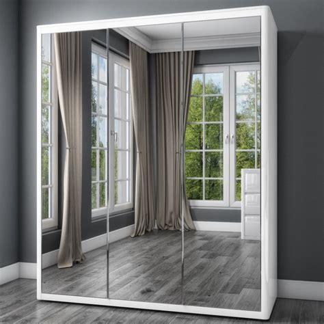 White Mirrored Wardrobe by White High Gloss Wardrobe With 3 Mirrored