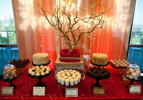 red  gold themed dessert table  parties pinterest