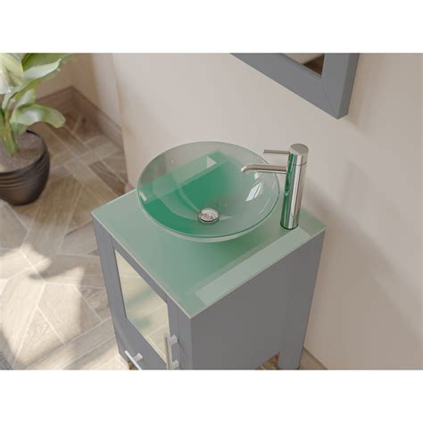 Vessel sink vanities at affordable prices with the large collection unique types of vessel sink bathroom vanities vessel 37 inch adelina vessel sink bathroom vanity black galaxy top out of stock. 18 Inch Gray Wood and Glass Vessel Sink Vanity Set ...