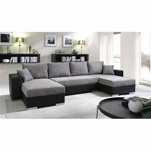 canape panoramique convertible en u enno 5 places With canapé d angle convertible couchage quotidien pas cher