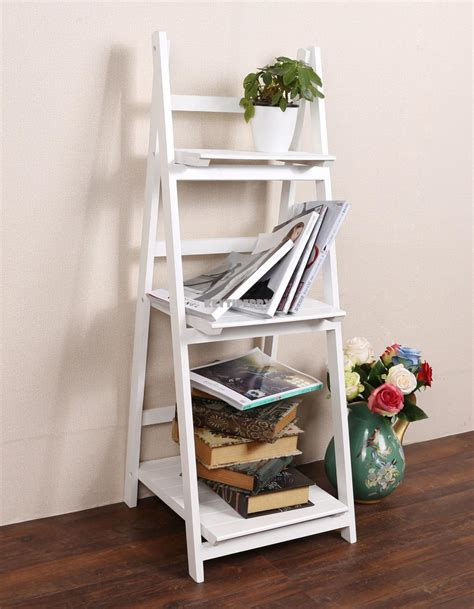 3 Tier Ladder Leaning Shelf Wooden Bookcase Storage Wall