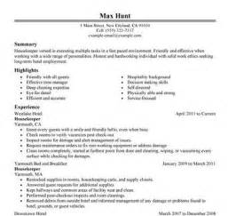 hospital housekeeper resume exles 7 free housekeeping resumes to get you started