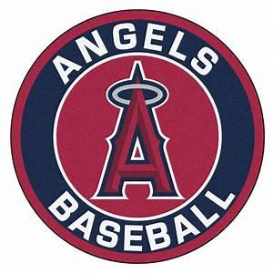 "Los Angeles Angels Logo Roundel Mat - 27"" Round Area Rug"