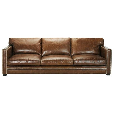 canape cuir vintage 4 5 seater leather sofa in brown dandy maisons du monde