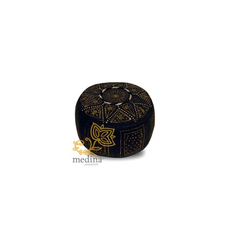 moroccan leather pouf buy leather fassi ottomans gold and black