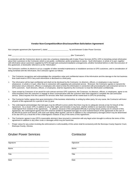 compete agreement template   templates