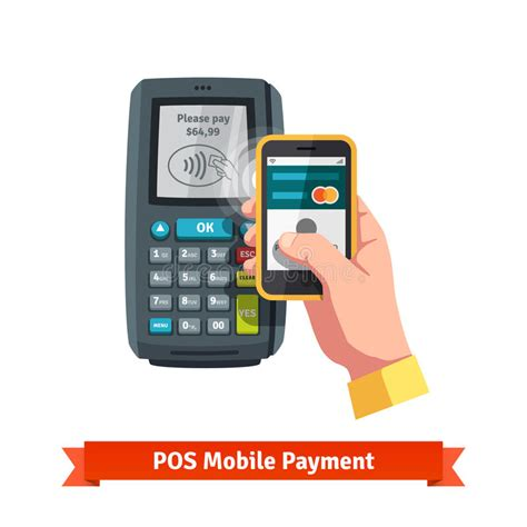 mobile payment pos mobile payment trough pos stock vector image of shopping