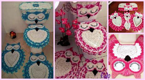 diy crochet owl toilet tank seat bathroom set cover