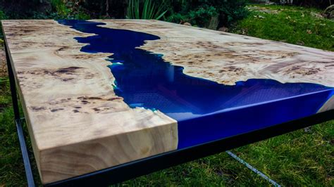 The work is done, workshop cleaned and gathering ideas for another piece of woodwork. SOLD Live edge river blue epoxy coffee table SOLD   Столики, Дерево и Смола