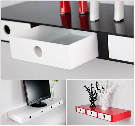 Shelf With Drawers by High Gloss Floating Wall Shelves Cd Book Display With