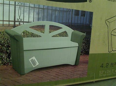 rubbermaid fg376401olvss patio storage bench ebay