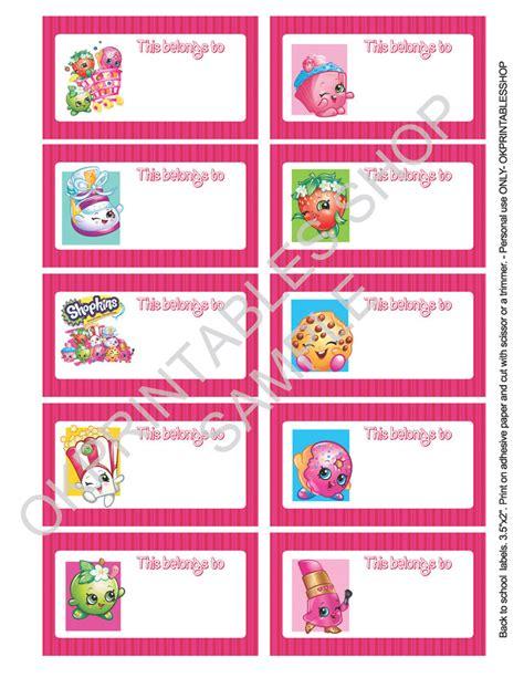 printable shopkins labels  school supplies
