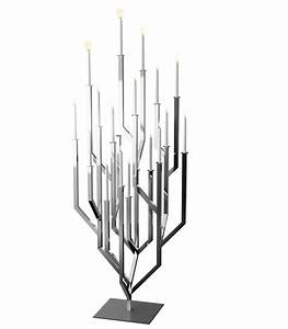 Modern Silver Geometric Tree Large Floor Candelabra ...