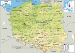 Poland Physical Features Map