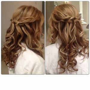 Braid curl wedding hair half up half down bridal style ...