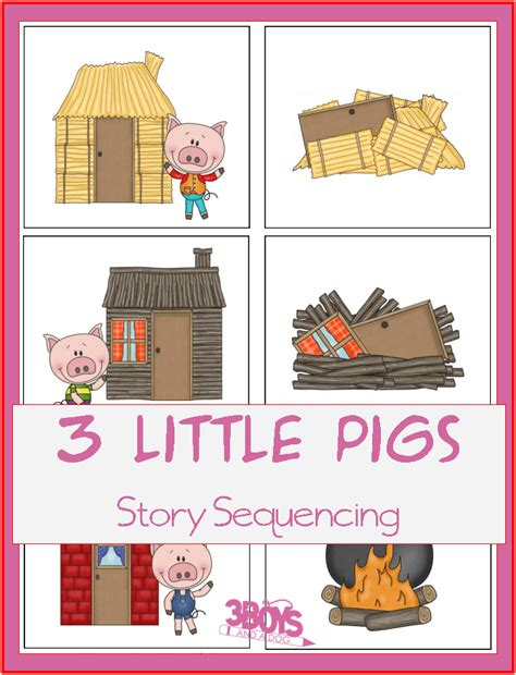 three pigs sequencing cards printable 3 boys and 909   3 little pigs story sequencing