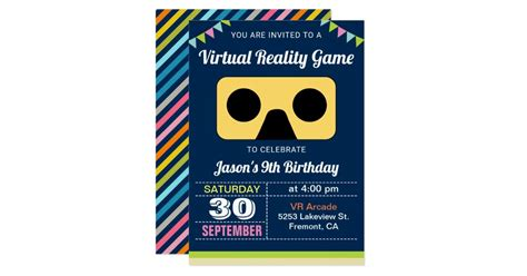 vr virtual reality kids birthday party invitation zazzle