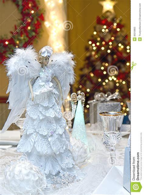 christmas table setting stock image image  lights