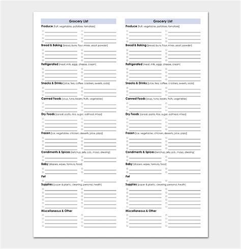 grocery list template  shopping lists excel word