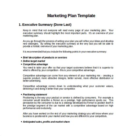 sample marketing plan template template format