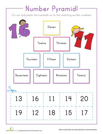 number pyramid 11 20 number words number and math