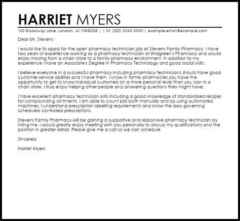 Cover Letter Applying For Pharmacy Technician by Pharmacy Technician Sle Cover Letter Cover Letter