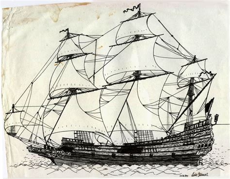 Drawn Sailing Ship Old Ship Pencil And In Color Drawn