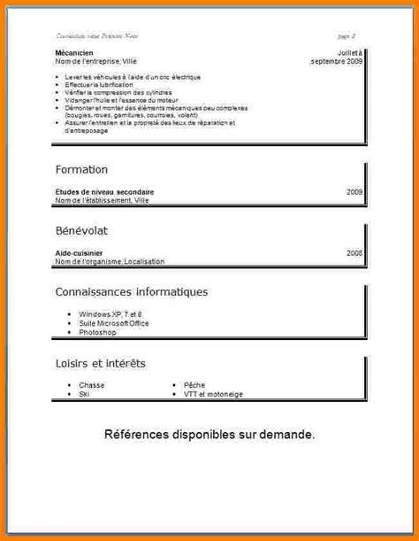 modele de cv simple 10 mod 232 le de cv 233 tudiant lettre officielle