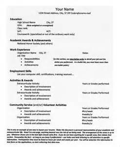 high school resume college admissions college resume 9 free sle exle format free premium templates