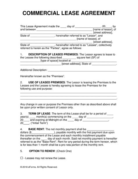 Commercial Building Lease Agreement Template by Free Commercial Rental Lease Agreement Templates Pdf