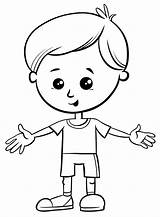 Boy Coloring Little Cute Cartoon Character Vector Illustration Boys Premium sketch template