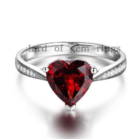 heart red garnet emagement ring  white gold lord  gem rings