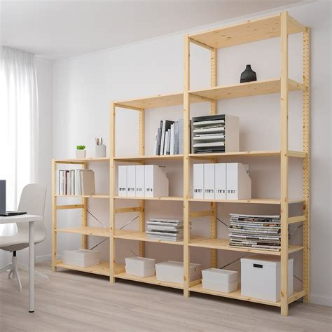 ivar  section shelving unit pine
