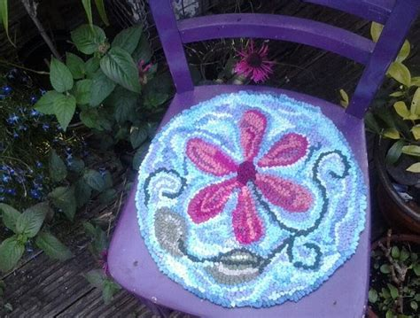 Nautical Hooked Chair Pads by Chair Cushion Seat Pad Hooked Small Mat Chair