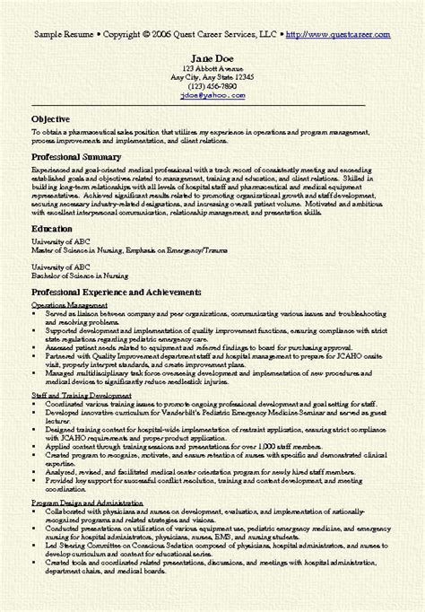 Resume Sle For Nursing by Pharma Sales Resume Exle
