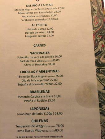 restaurant la cuisine carta picture of restaurante amazonico madrid tripadvisor