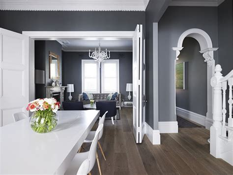 Gray Walls And White Trim.