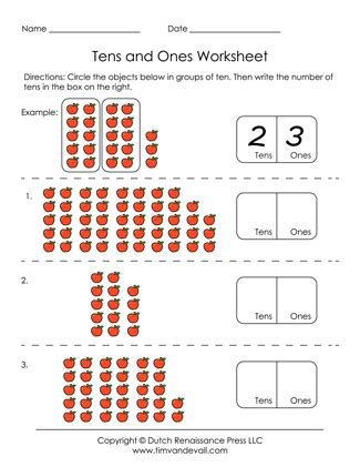 free printable tens and ones worksheets for grade 1