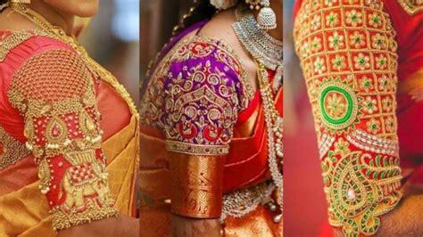 maggam work blouse designs  wedding saree top blouse