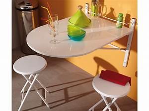 Table Pliante De Cuisine : table de cuisine pliable 2 tabourets bois pvc blanc snow ~ Teatrodelosmanantiales.com Idées de Décoration